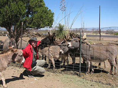 Randy with the burros