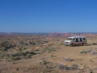 Utah Boondocking campsite with a big view
