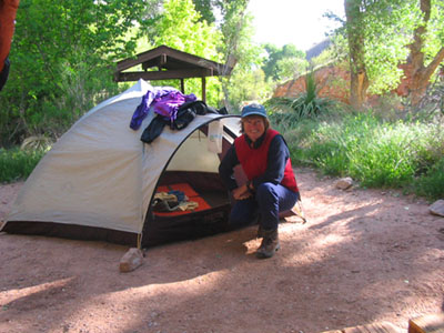 Tenting on a backpacking trip
