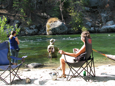 California Free camping at a favorite river fishing hole