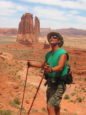 Randy with his hiking poles, Arches NP