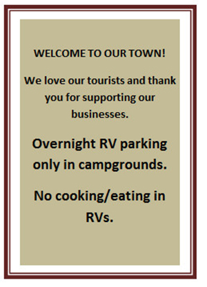 Sign No RV parking or eating allowed