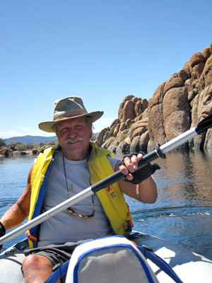 padddling on Watson Lake
