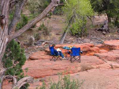 Free creekside patio camping