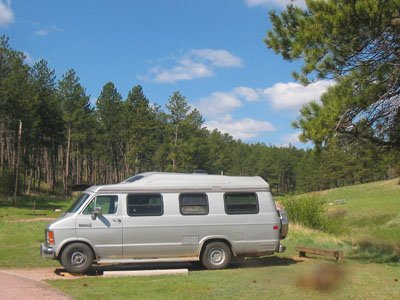 Our 1990 Roadtrek camped at Wind Cave NP, South Dakota